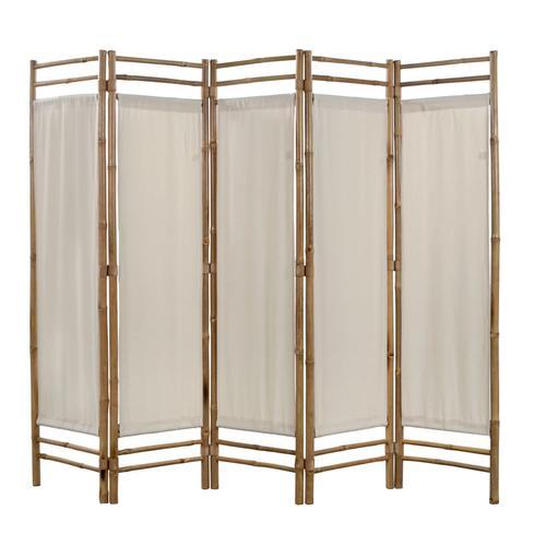 vidaXL 5-teiliger Faltbarer Raumteiler Bambus und Leinwand 200 cm