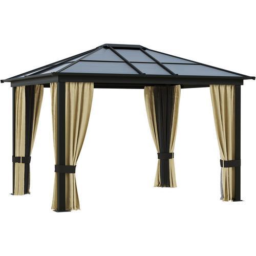 Outsunny® Luxus Pavillon Alu Gartenzelt mit lichtdurchlässigem PC Dach - schwarzbraun/natur