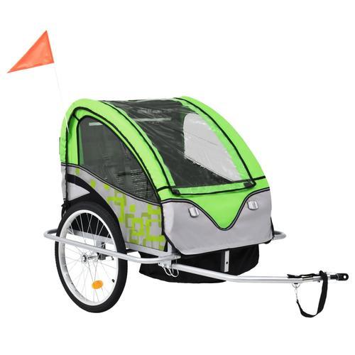 vidaXL 2-in-1 Kinder Fahrradanhänger & Kinderwagen Grün und Grau