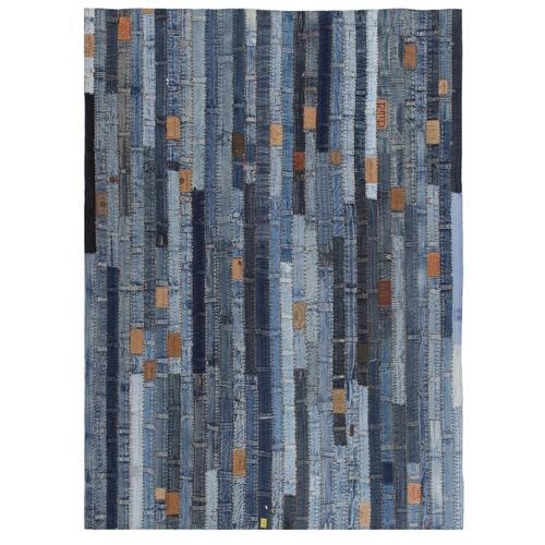 vidaXL Teppich Jeansflicken Patchwork 120 x 170 cm Jeansblau