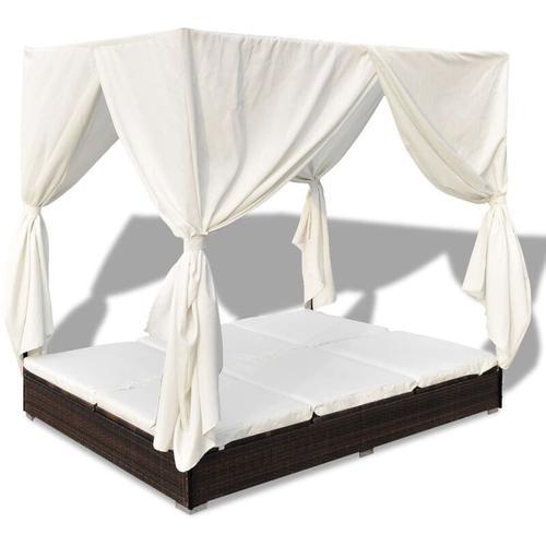 Vidaxl - Outdoor-Loungebett mit Vorhang Poly Rattan Braun