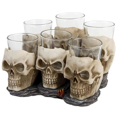 Nemesis Now Six Shooter Skulls Schnapsglas-Set - altweiß