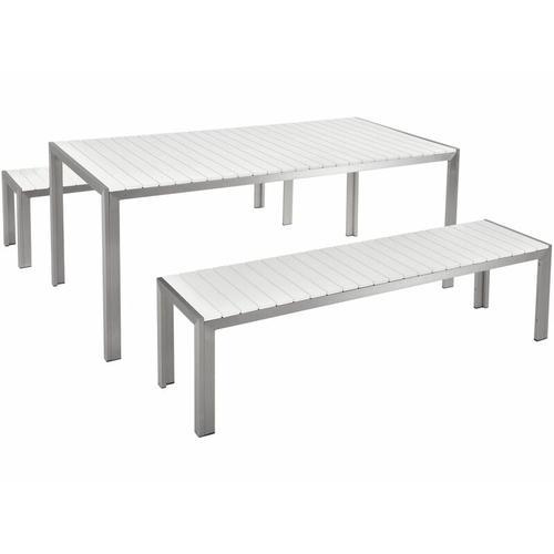 Gartenmöbel Set Weiß Kunstholz Aluminium 8-Sitzer Rechteckig Outdoor Modern
