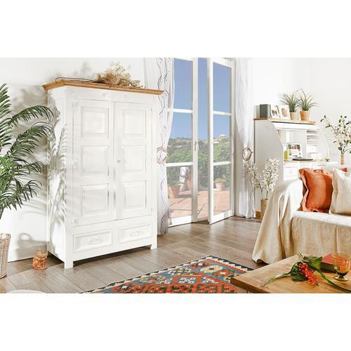 Weißer Landhausstil Schrank MEXICO, Wohnschrank Shabby Chic, Country Style, Massivholz