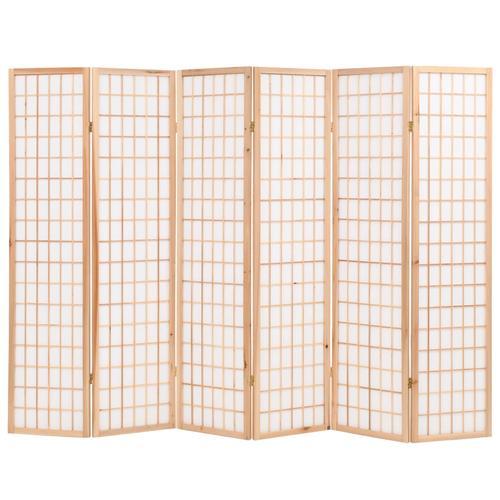 vidaXL 6-tlg. Raumteiler Japanischer Stil Klappbar 240 x 170 cm Natur