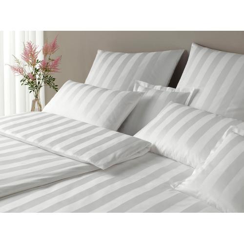 Elegante Bettwäsche Noblesse, im modernen Streifendesign weiß nach Größe Bettwäsche, Bettlaken und Betttücher
