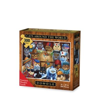 DOWDLE PUZZLES Multi Color Cats Around the World Puzzle
