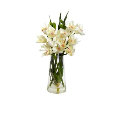 Nearly Natural White Cymbidium Orchid with Vase