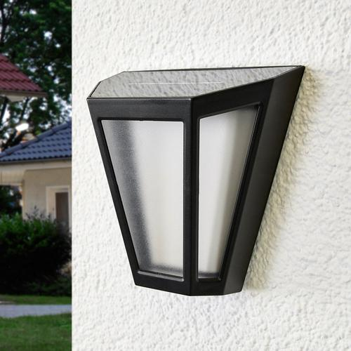 LED-Solarwandleuchte Yago, gefrosteter Schirm