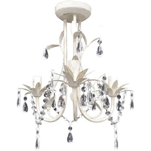 Vidaxl - Kronleuchter Pendelleuchte Kristall Lampe Lüster Leuchte weiß