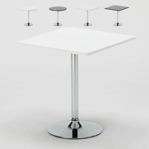 Kaffee Tisch Rund und Quadratisch Weiß Schwarz 70x70 Bistrot   Weiß - Viereckig