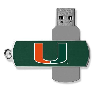 Miami Hurricanes 32GB Metal Twist USB Flash Drive