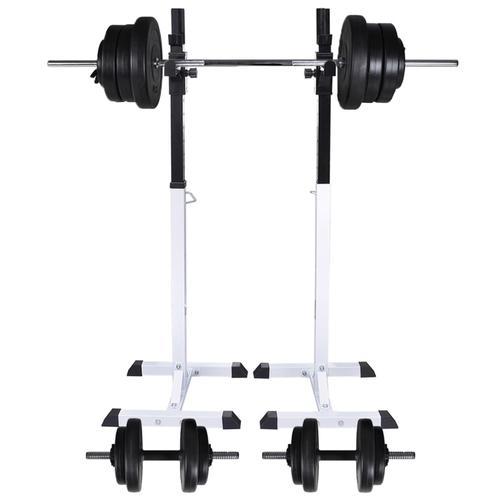 vidaXL Kniebeugen-/Langhantelständer mit Hantel-Set 60,5 kg