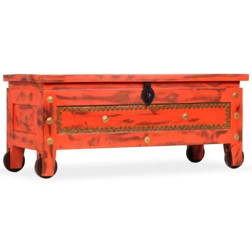 vidaXL Aufbewahrungstruhe Mangoholz Massiv 101 x 39 x 42 cm Rot
