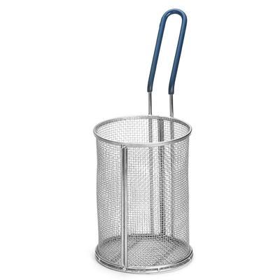 """Tablecraft 985 Stainless Steel Pasta Basket, 5 1/4 x 7"""" Round, Blue Handle"""