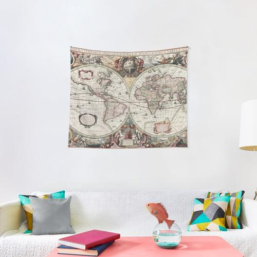 Vintage Maps Of The World. Geographic and Hydrographic Map of the Whole World Wall Tapestry