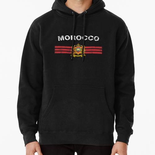 Moroccan Flag Shirt - Moroccan Emblem & Morocco Flag Shirt Pullover Hoodie