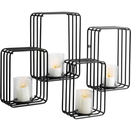 andas Wandkerzenhalter, Kerzen-Wandleuchter, Kerzenhalter, Kerzenleuchter hängend, Wanddeko, für 4 Kerzen schwarz Wanddekoration Deko Wohnaccessoires Wandkerzenhalter
