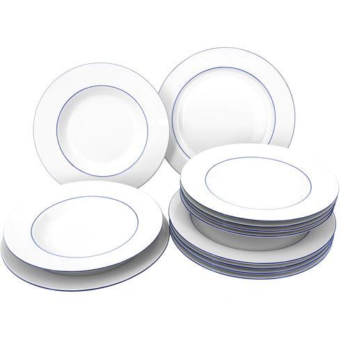 Retsch Arzberg Tafelservice Heike Blaurand, (12 tlg.) weiß Geschirr-Sets Geschirr, Porzellan Tischaccessoires Haushaltswaren