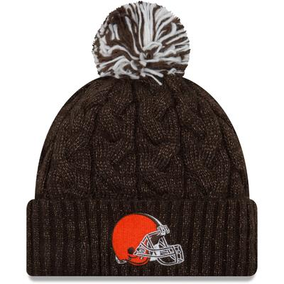 Women's Cleveland Browns New Era Brown Cozy Cable Cuffed Knit Hat