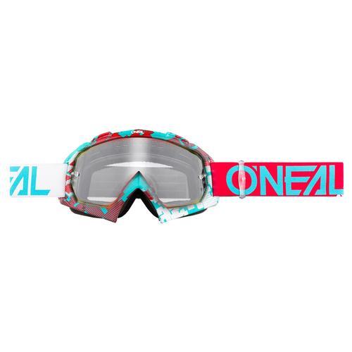 Oneal B-10 Pixel Motocross Brille, rot-blau