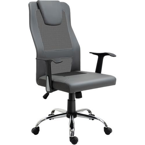 ® Bürostuhl Chefsessel Rückenlehne in S-Form Grau - grau - Vinsetto