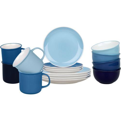 Könitz Kombiservice Elements, (Set, 16 tlg.), handdekoriert blau Geschirr-Sets Geschirr, Porzellan Tischaccessoires Haushaltswaren