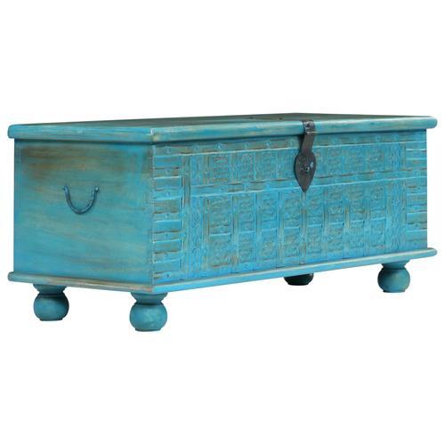 vidaXL Aufbewahrungstruhe Mangoholz Massiv 100 x 40 x 41 cm Blau