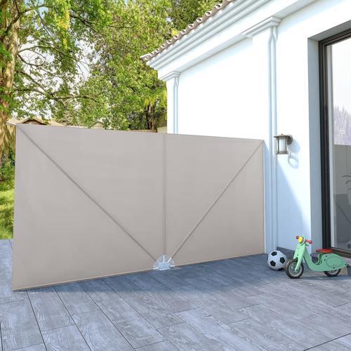 vidaXL Faltbarer Terrassen-Seitenfächer Creme 400×200 cm