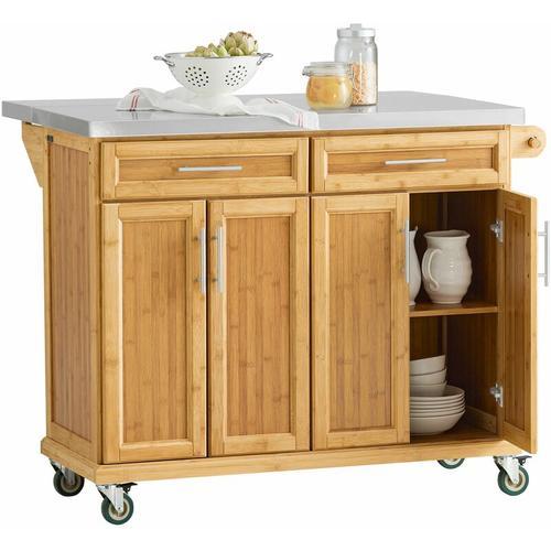 SoBuy Kücheninsel Küchenwagen mit Edelstahlarbeitsplatte Küchenschrank FKW69-N