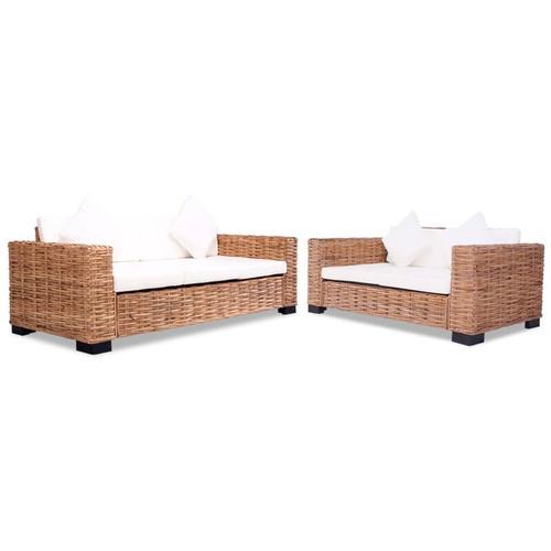 Sofa-Set 15-tlg. Natürliches Rattan