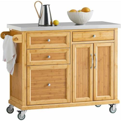 Küchenwagen Kücheninsel mit Edelstahlarbeitsplatte Küchenschrank FKW70-N - Sobuy