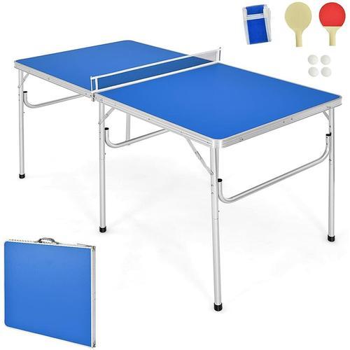COSTWAY Tischtennisplatte mit Netz, 2 Schlaegern und 2 Baellen, Tischtennistisch klappbar,