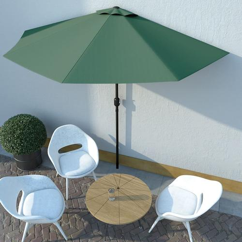 vidaXL Balkon-Sonnenschirm mit Alu-Mast Grün 300×150 cm Halbrund
