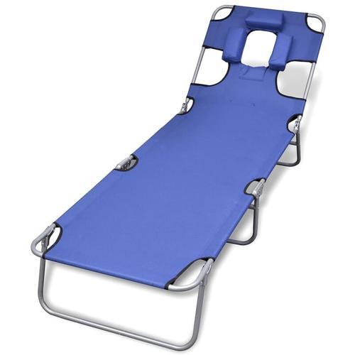 Klappliege mit Kopfkissen Pulverbeschichteter Stahl Blau