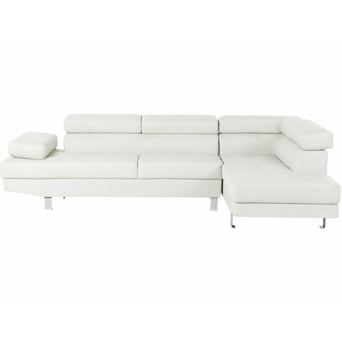 Ecksofa Weiß Kunstleder L-Förmig Linksseitig Modern Wohnzimmer