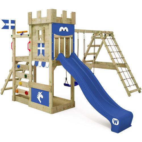 WICKEY Spielturm Ritterburg DragonFlyer mit Schaukel & blauer Rutsche, Spielhaus mit Sandkasten,