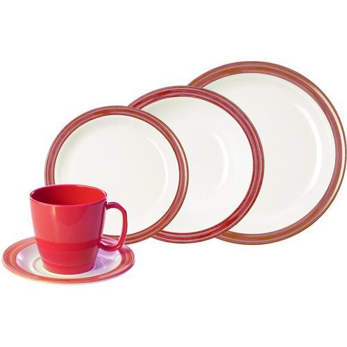WACA Kombiservice Bistro, (Set, 10 tlg.) rot Geschirr-Sets Geschirr, Porzellan Tischaccessoires Haushaltswaren
