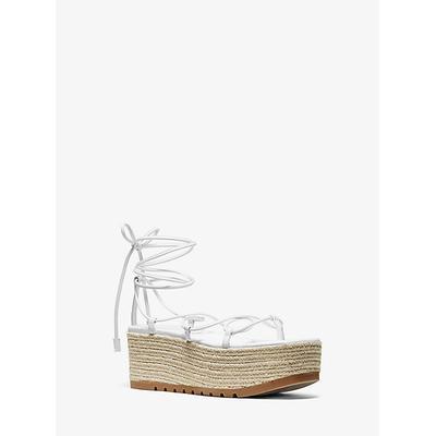 Michael Kors Mabal Leather Flatform Sandal White 39.5