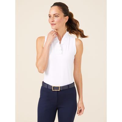 J.McLaughlin Women's Durham Sleeveless Ruffle Top White Solid, Size Medium