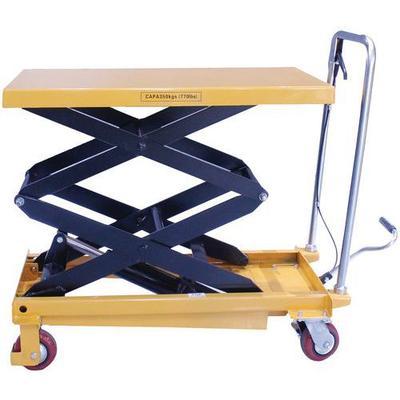 table élévatrice manuelle double ciseaux 350 kg manutan