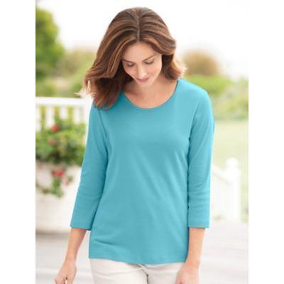 Women's Coastal Cotton 3/4-Sleeve Scoopneck Tee, Grotto Blue XL Misses