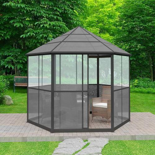 vidaXL Gartenpavillon Aluminium Sechseckig Grau