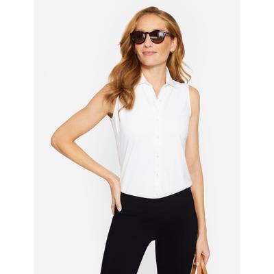 J.McLaughlin Women's Betty Sleeveless Shirt White Solid, Size Medium