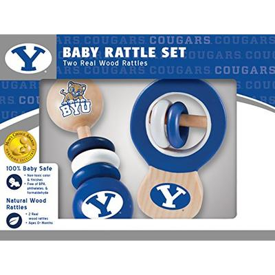 MasterPieces NCAA Brigham Young BYU Cougars Real Wood Baby Rattles (2-Pack)