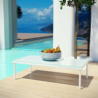 Modway Harmony Outdoor Patio Aluminum Coffee Table in White