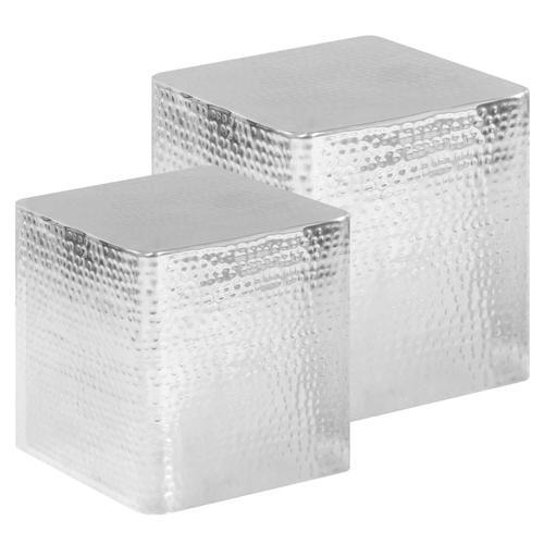 vidaXL Couchtische 2 Stk. Silbern Aluminium