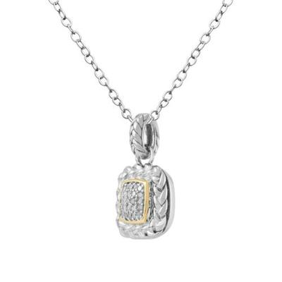 Belk & Co. Two-Tone 1/6 ct. t.w. Diamond Pendant Necklace in Sterling Silver 14k Yellow Gold