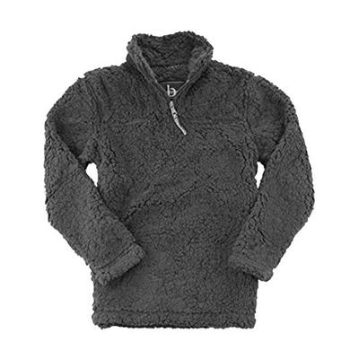 Boxercraft Adult Quarter Zip Sherpa Pullover-Charcoal-xs
