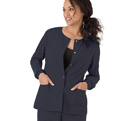 Classic Fit Collection by Jockey Women's Round Neck Solid Scrub Jacket Medium Charcoal